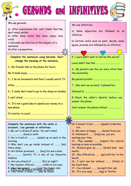 medium resolution of GERUNDS AND INFINITIVES   English grammar