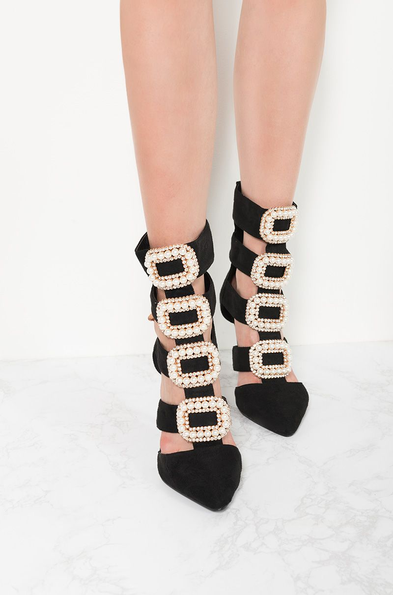 796a957692a Pearl Rhinestone Buckle Strappy High Heel Zip Up Boots in Black Suede