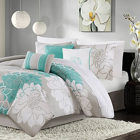 Madison Park Lola 7 Piece Comforter Set In Aqua Comforter Sets