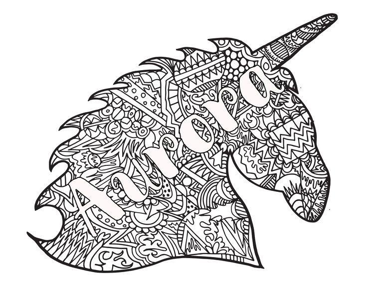 Personalized Unicorn Coloring Page Aurora Unicorn Coloring