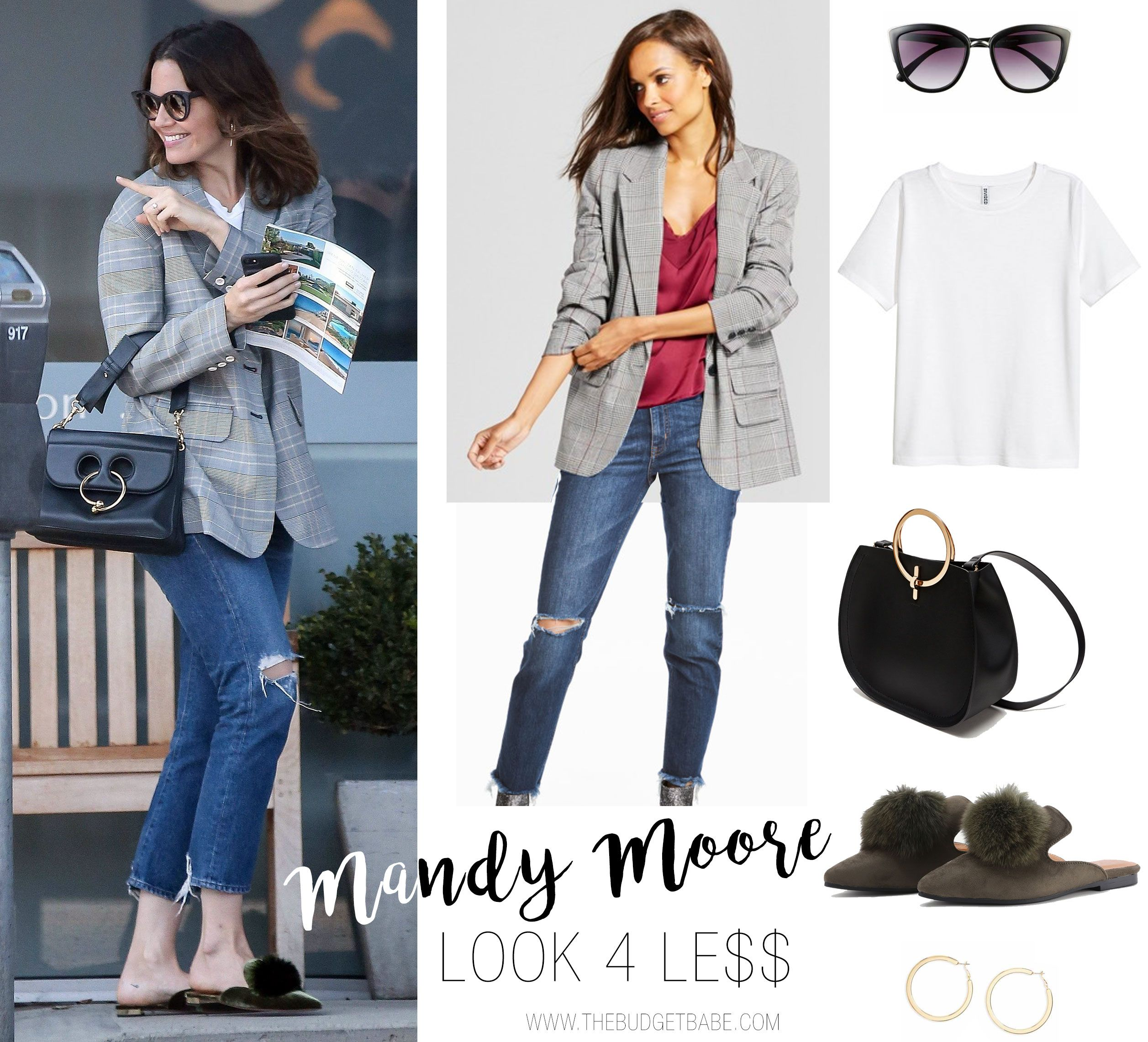Mandy Moore s plaid blazer and ripped jeans look for less 60b7221ce