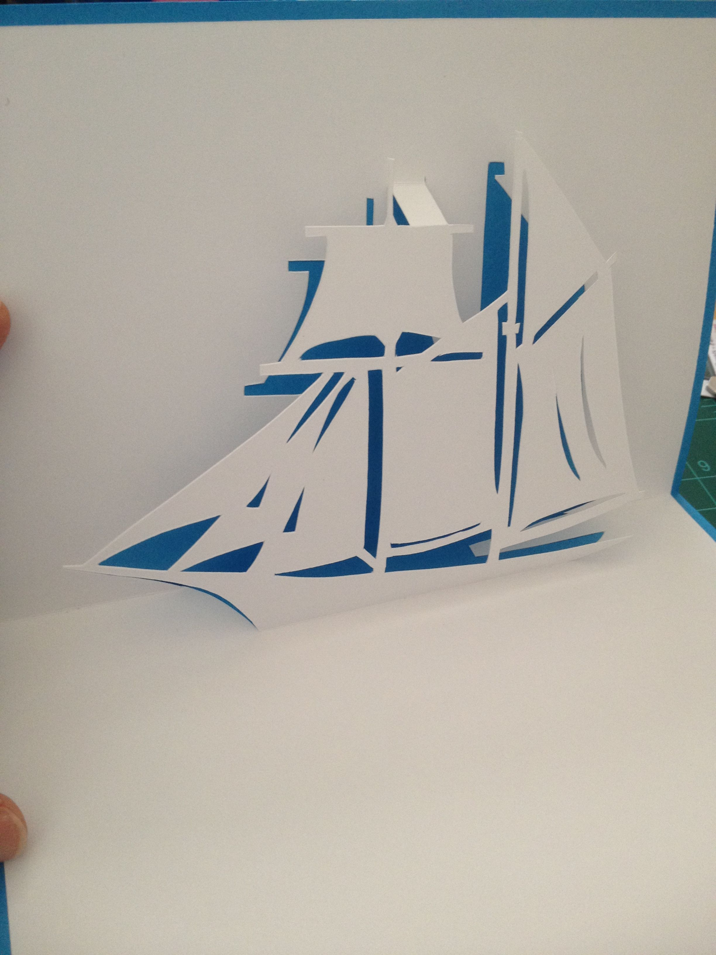 Sailing ship pop-up card (Template from \