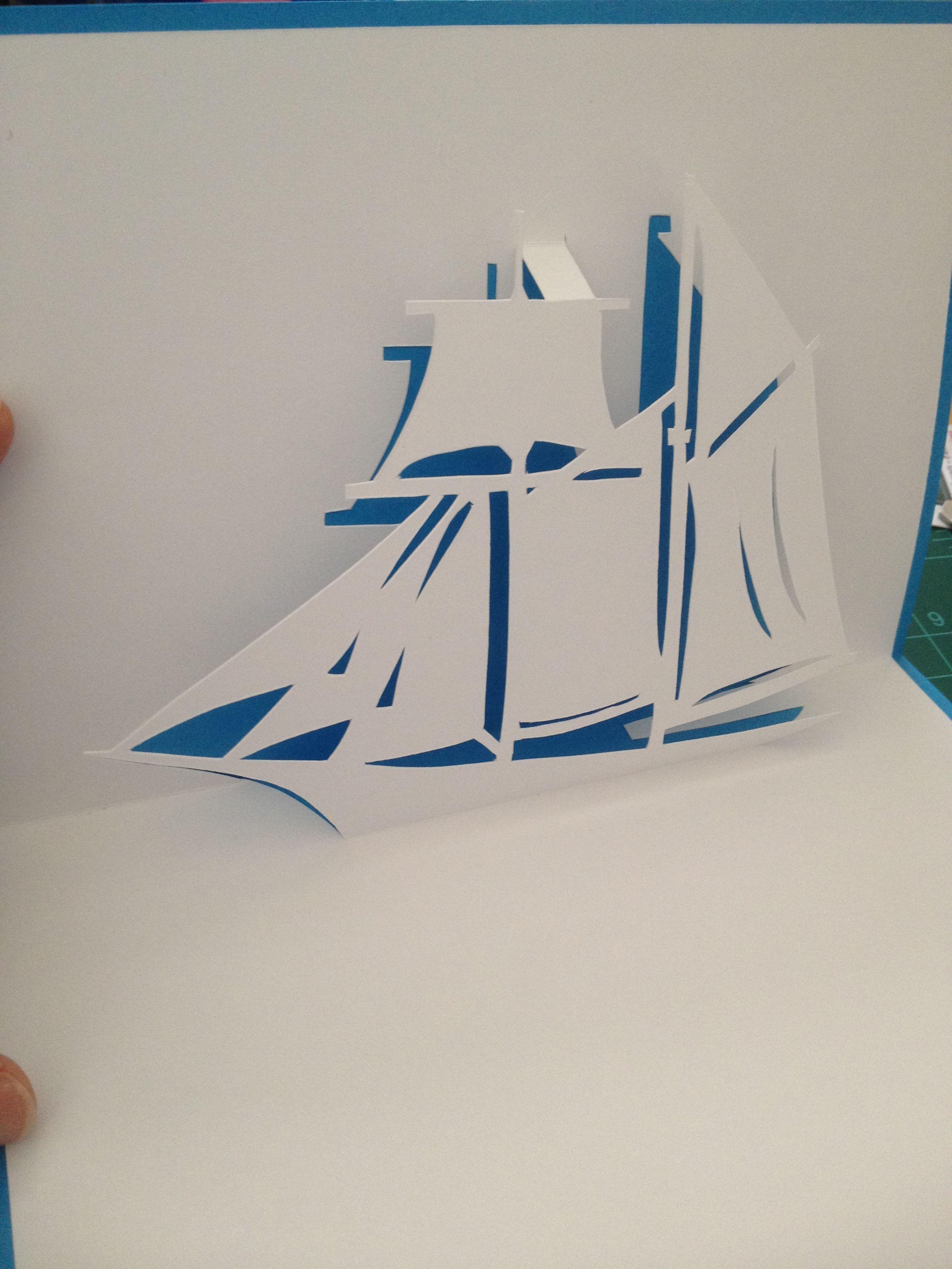 "Sailing ship pop up card Template from ""cahier de kirigami 90"