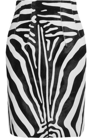 Topshop Unique Vaughn zebra-print calf hair skirt