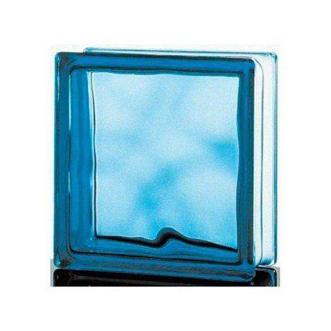 Brique de verre standard ondulée brillante, bleu ciel Salle de