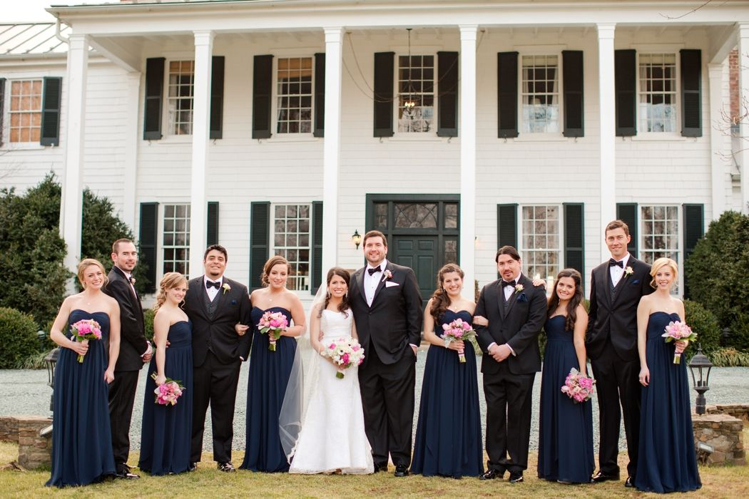 Elegant Formal Wedding with Navy bridesmaid Dresses and Black ...