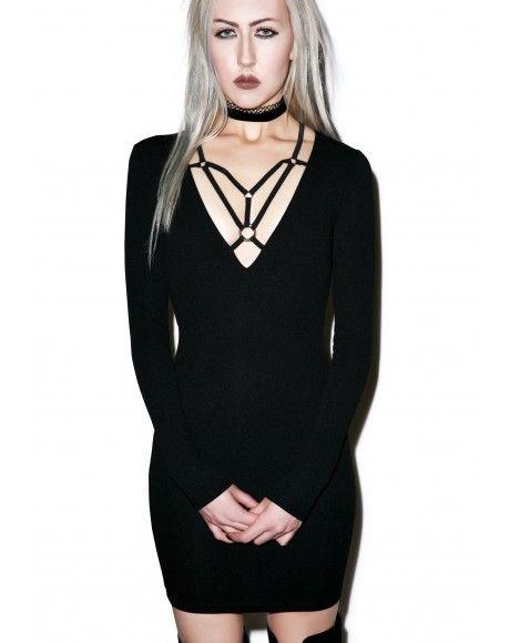 83a7273347  DollsKill  lookbook  photoshoot  model The Antidote  dress  black   longsleeve  detail  neck  straps  lines  cute  bodycon