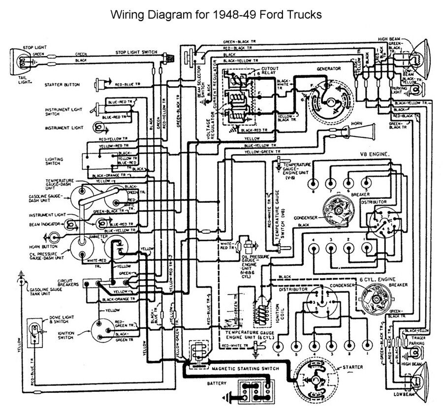 Wiring for 1948 to 49 Ford Trucks | Charts | Pinterest