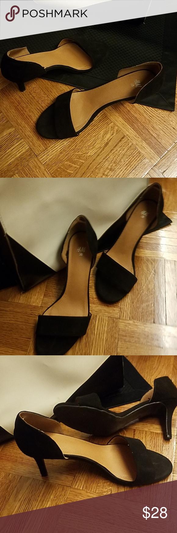 Black Slip On Kitten Heel Strap Sandal Kitten Heels Heels Strap Heels