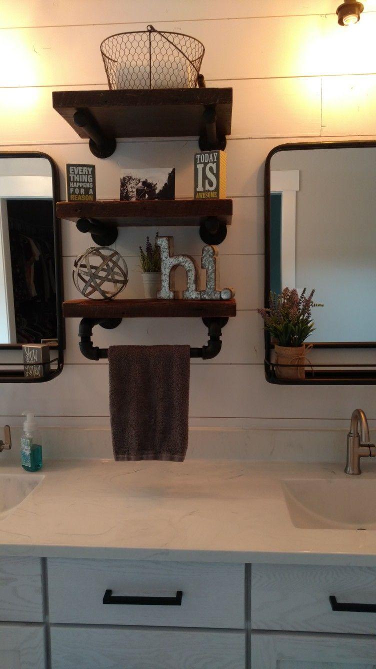 Farmhouse Bathroom Shelves With Built In Hand Towel Holder