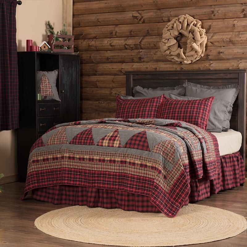 Quilt Sets Andes Red Quilt By Vhc Brands 100 Cotton Red Charcoal Grey Coal Black Latest Bedding Lodge Bedding Rustic Bedding King Quilt
