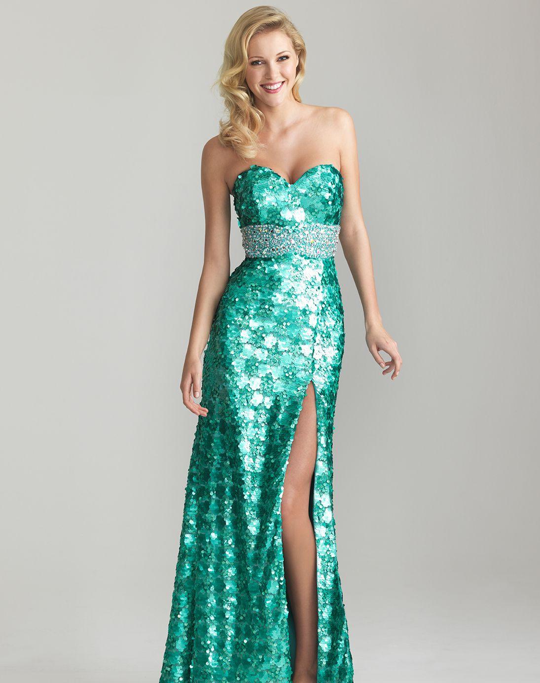 Aqua Sequin Sweetheart Rhinestone Empire Waist Prom Dress - Unique ...