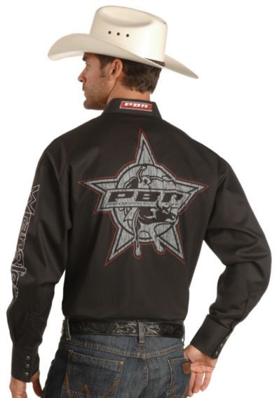 6786615864 Wrangler PBR Screen Print Logo Rodeo Shirt - Sheplers