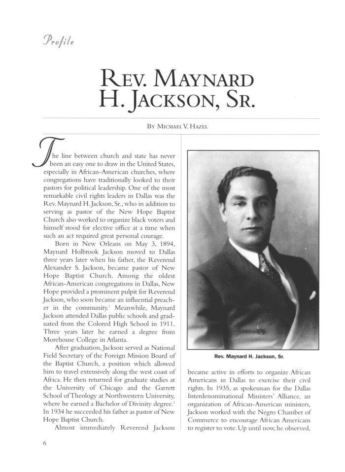 Rev Maynard Jackson Pastor Of New Hope Baptist Church In 1944 He