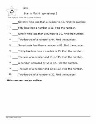 Worksheets Pre Algebra Algebra Worksheets Pre Algebra Worksheets Basic algebra problems worksheet pdf