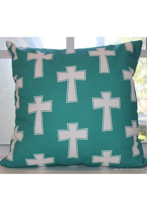 Teal Cross Dorm Decorative Throw Pillow Avail In All Sizes