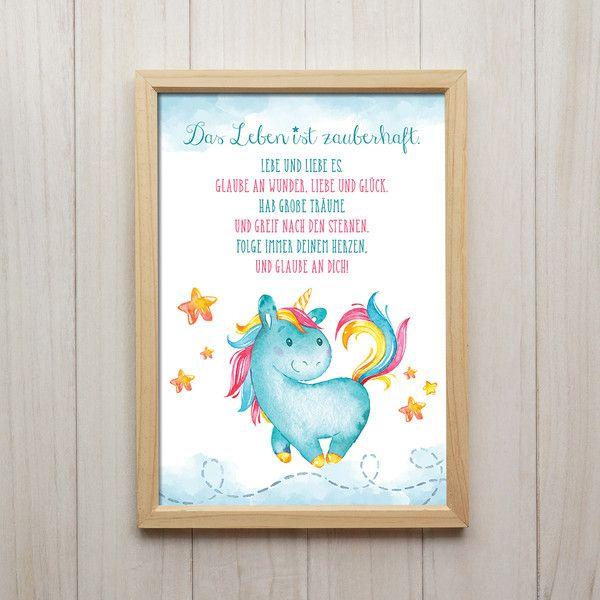 Leben Ist Zauberhaft Einhorn Spruch Kunstdruck Einhorn Spruche Geburtstagsspruche Kinder Spruche Kinder