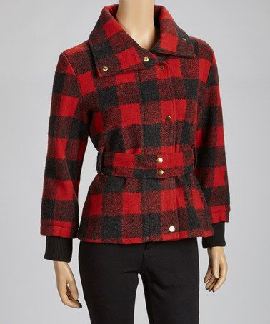 Take a look at this Red Plaid Sash-Tie Jacket by Up Country on #zulily today!
