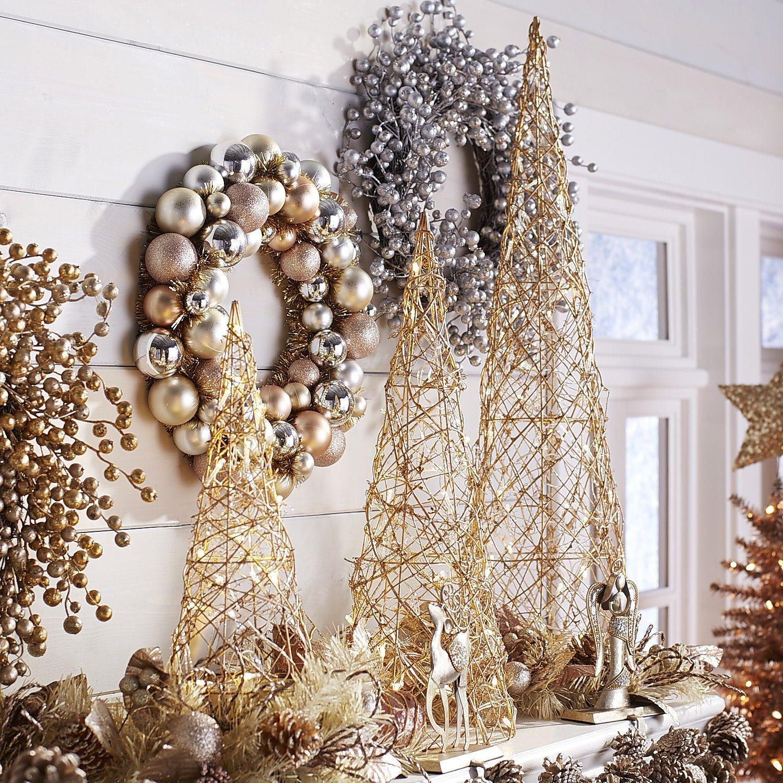 Led Glitter Cone Tree Set Pier 1 Imports Metallic Christmas