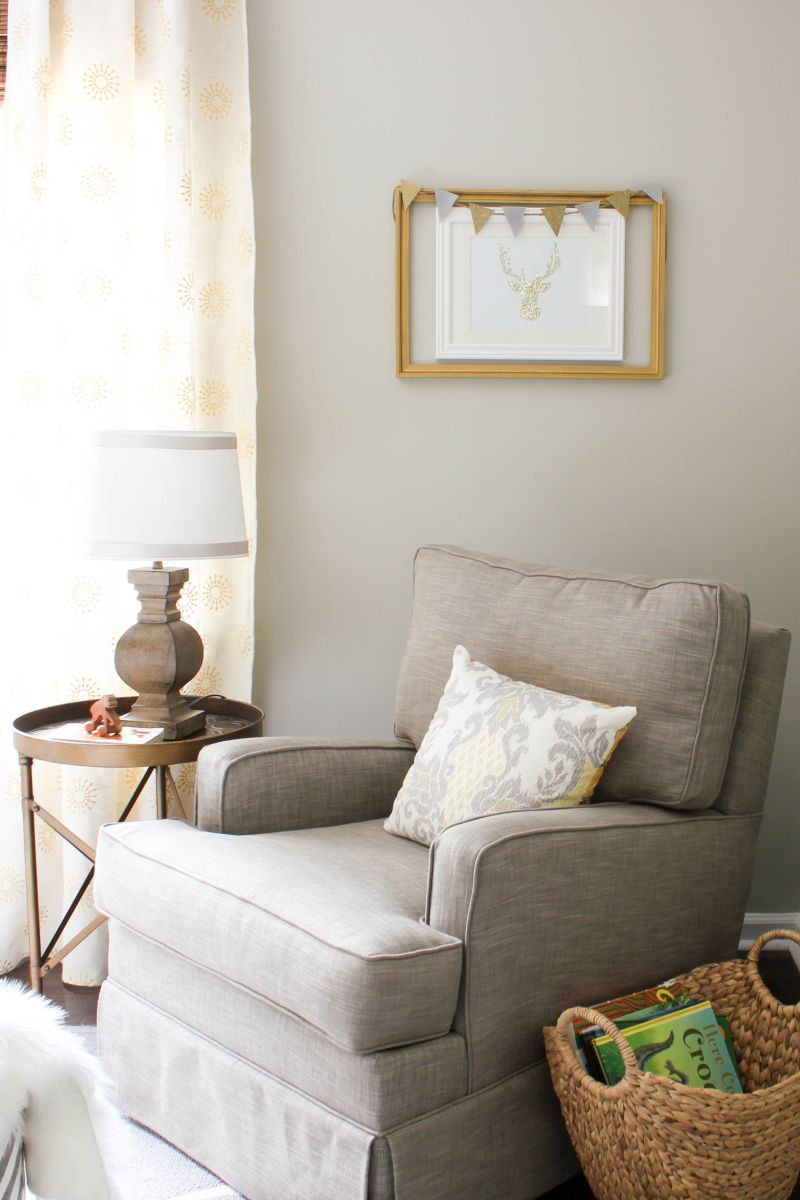 a grey  gold absolutely beautiful nursery  living room