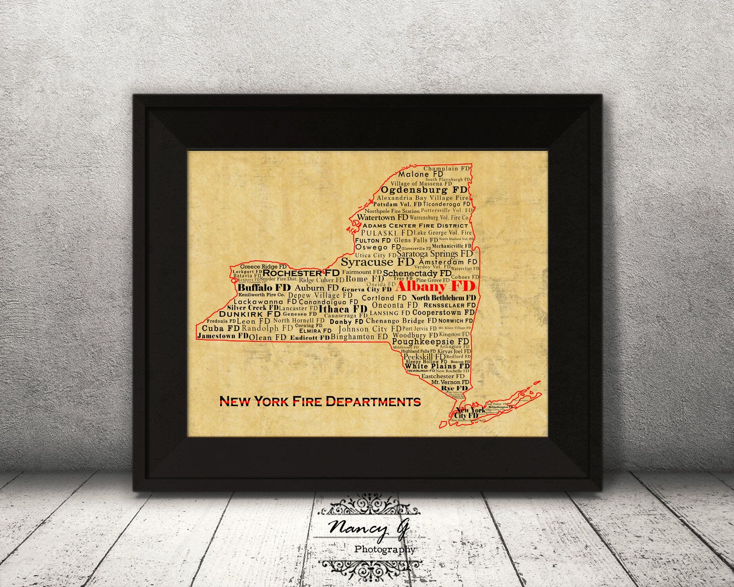 New York Fire Departments, NY, Printed Art, New York, Word Art, Wall ...