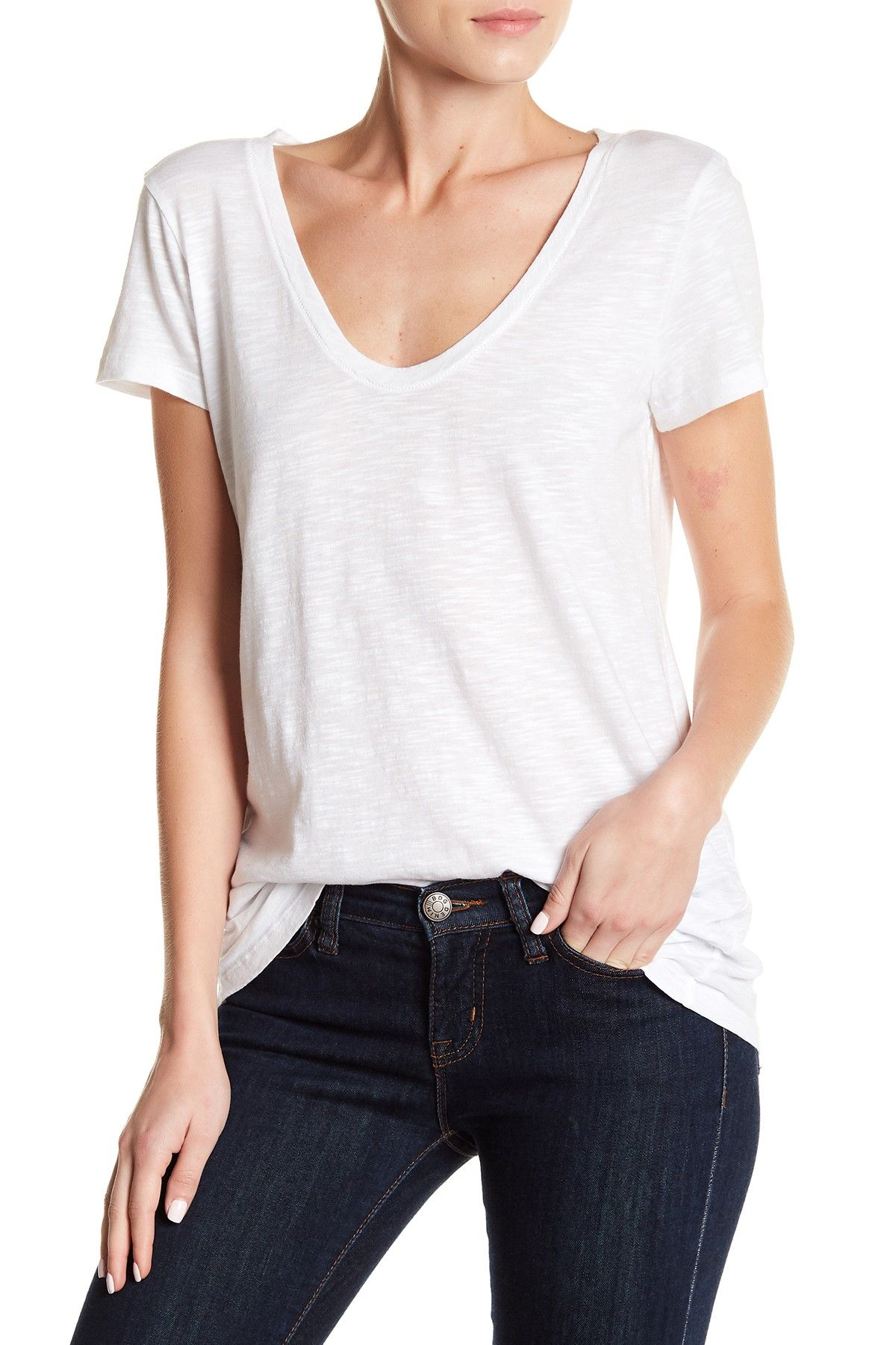 8424315411646 Solid Scoop Neck Tee (Petite Sizes Available) by SUSINA on  nordstrom rack