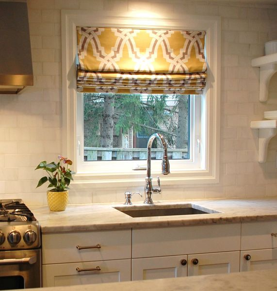 Yellow And Gray Kitchen Featuring Walls Window Above Sink Covered In Fabric Duralee Bokara