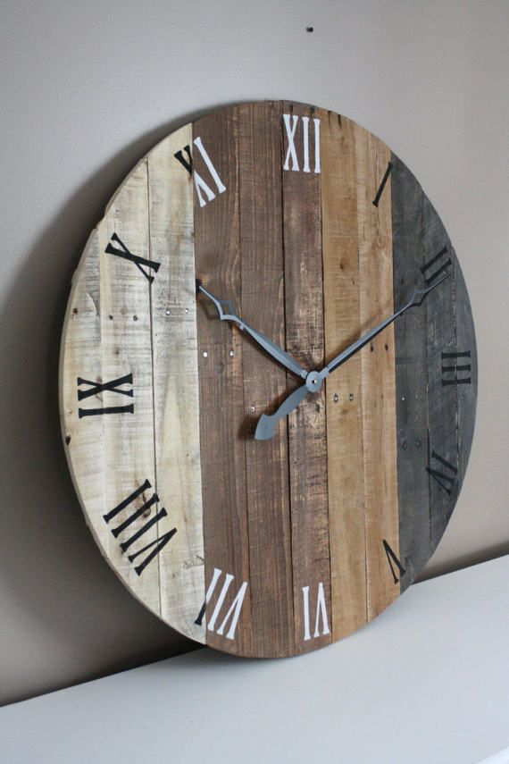 Large Wall Clock Modern Rustic Farmhouse Decor 36 Inch Round Clock Grey Gray Brown Tan Natural Reclaimed Wood 5 Year Anniversary Gift Neobychnyj Dekor Doma Derevyannye Chasy Chasy Iz Poddonov