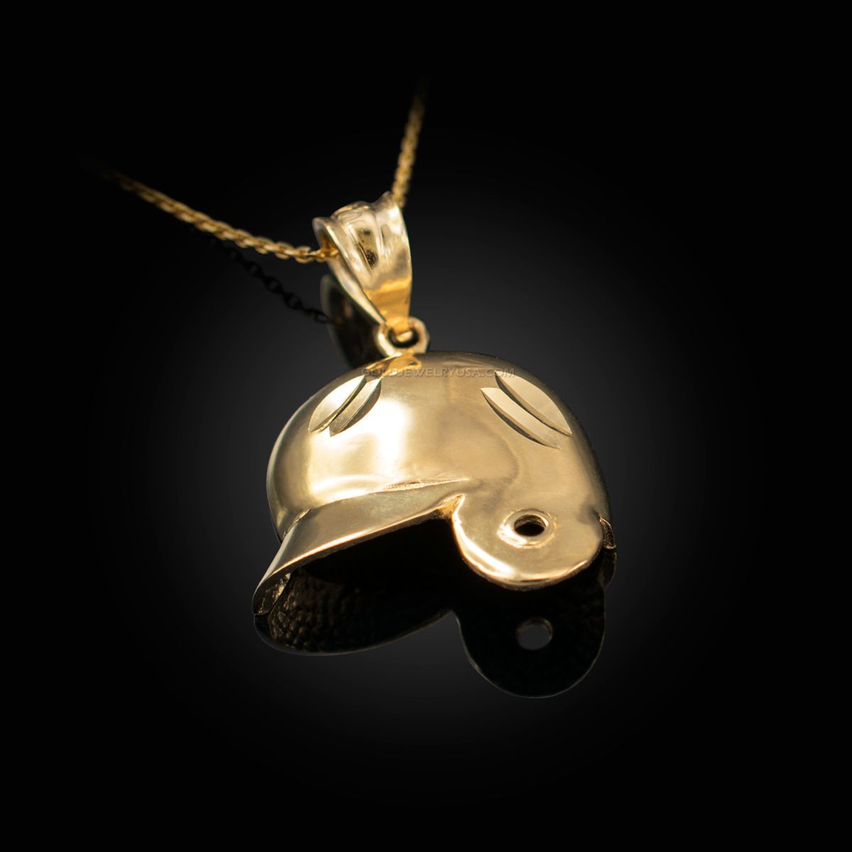 Yellow Gold Baseball Helmet Dc Charm Necklace Baseball Helmet Yellow Gold Charm Necklace