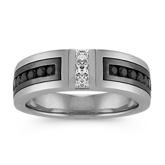 Princess Cut Diamond And Round Black Sapphire Ring 7mm Products In 2019 Black Sapphire Ring Engagement Rings Princess Cut Diamonds