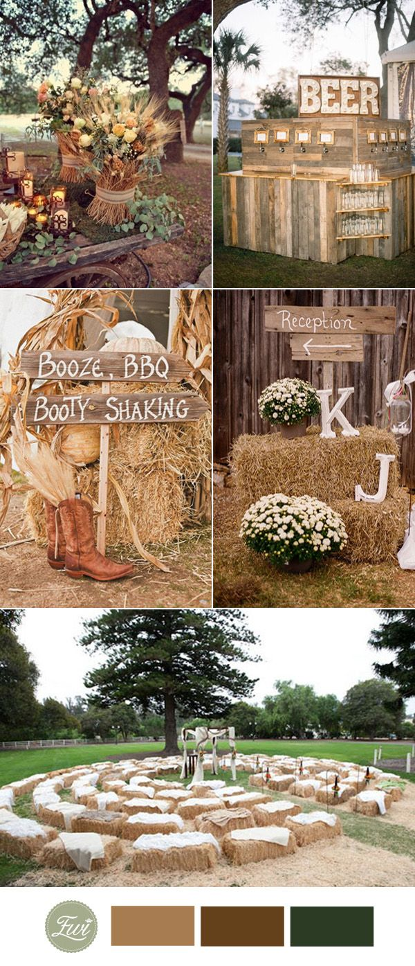 Top fall wedding color ideas for trends hay bales country