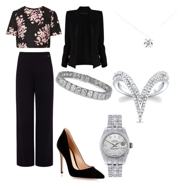 """""""going out for the day"""" by liyahhart344 ❤ liked on Polyvore featuring beauty, Jonathan Saunders, Gianvito Rossi, Pink Tartan, Alexandre Vauthier, Tiffany & Co. and Rolex"""