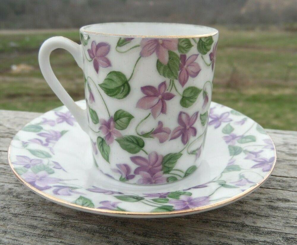 Vintage Porcelain Demitasse Cup Saucer Lilac Flowers Gold Trim England Vintage Porcelain Demitasse Cups Lilac Flowers