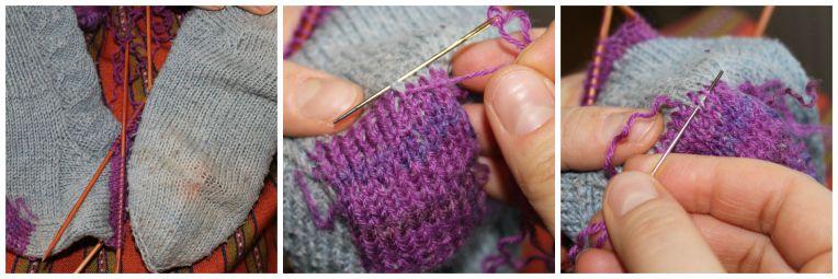 Villasukan paikkaaminen silmukoimalla. Mending woollen socks with grafting. silmukointi2 - Korjaussarjakollektiivi