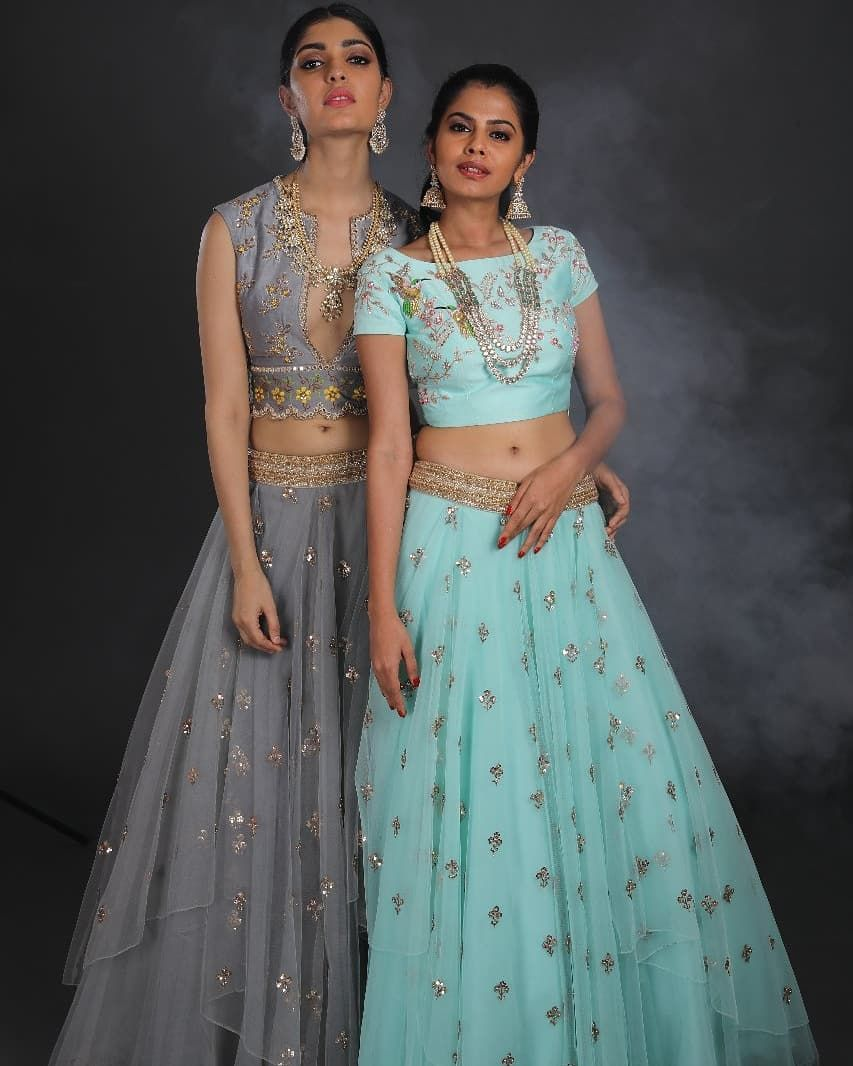 8c71c8f279 Contemporary Statements in style! Stunning gray and powder blue color  lehenga and crop top. Lehenga and crop top with hand embroidery work. 24  January 2019