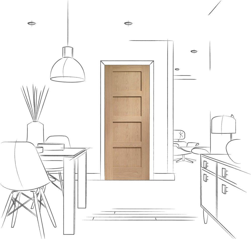 Shaker panel internal oak fire door lifestyle line drawing