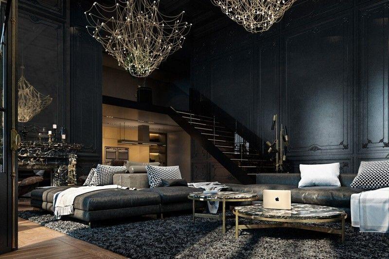 Aménagement intérieur en noir du0027un appartement à Paris! - wohnzimmer gold schwarz