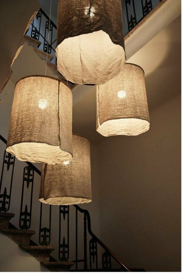 Diy Rustic Linen Lampshades Diy Chandelier Small Lamp