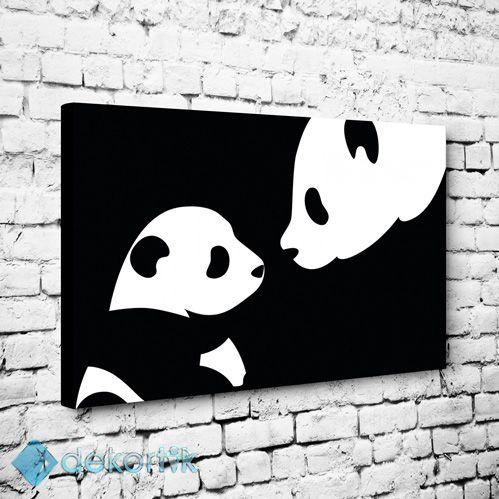 Black White Panda Tablo Kanvas Tablo Siyah Beyaz Tablolar