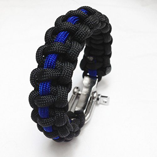 Police Thin Blue Line Paracord Survival Bracelet With Adjule Pin Shackle