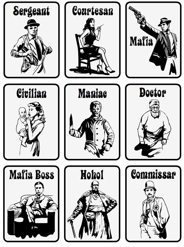 Mafia Board Game Cards on Behance Mafia game, Mafia