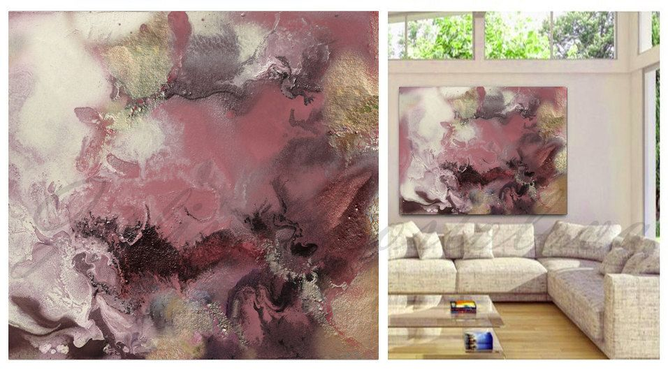 #Watercolor #LargeArt #WatercolorPainting, #Modern #ContemporaryArt #WatercolorPrint #AbstractArt #Landscape, #BeigeandPink, #Brown #PurpleandGold #Pink #HugeArt #WallArt, #Contemporary #PinkandGold, #ModernArt, '' #Romance '' by #JuliaApostolova on #Etsy
