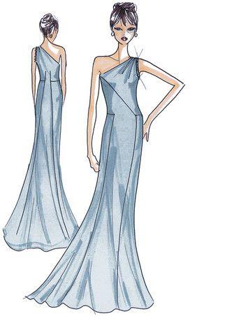 Schnittmuster: Abendkleid - elegant fließend - Abendkleider ...