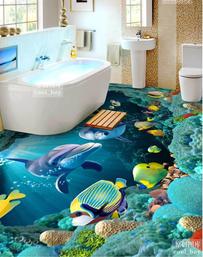 Aliexpress Com Buy 3d Floor Wallpaper Custom 3d Floor Mural Painting The Underwater World Murals For Tv Flo Epoxy Floor Designs Floor Wallpaper Floor Design