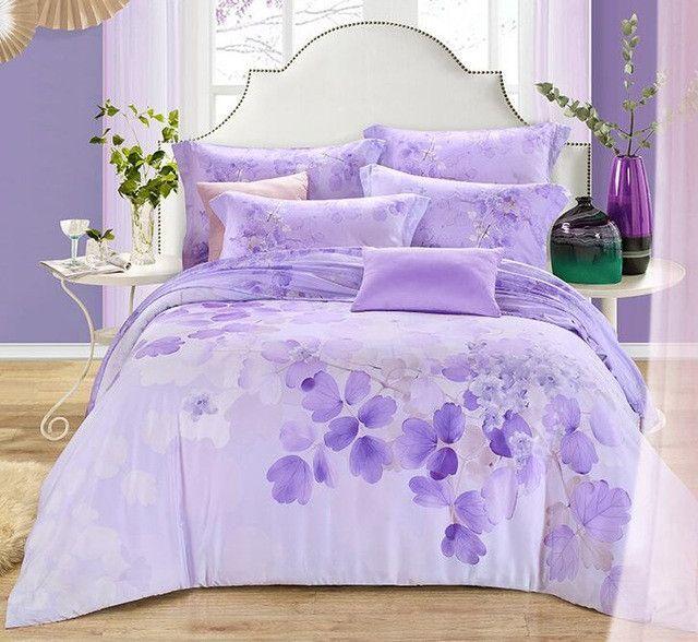 100 Natural Tencel Silk Sweet Purple Flower Field 4pcs Home Princess Sleep Bedding Set King Bedding Sets Bedding Sets Country Bedding Sets