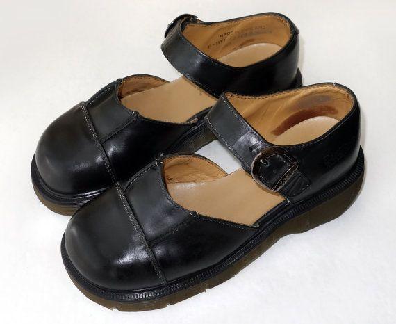 c868bda84daea Vintage Made in England Dr Martens Black Mary Jane Buckle Platform ...