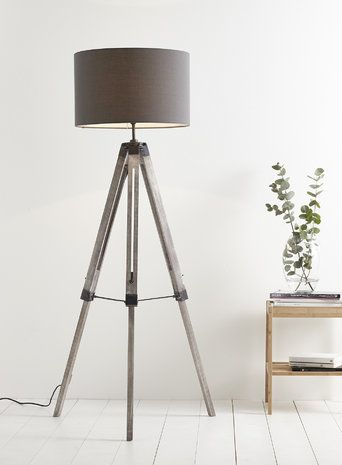 Tripod Lamp For Sitting Room Need Darker Wood And Mid Grey Shade Contemporary Floor Lamps