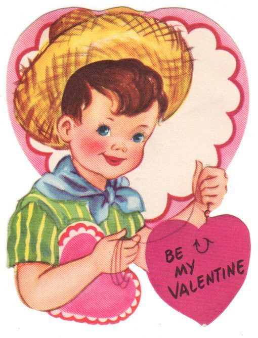"Vintage valentine card circa 1950s. Features a little boy wearing a straw hat. Boy is holding a Pink heart caught on a fishing hook. Reads, ""Be My Valentine"" Published by Gibson. Measures 3.25"" wide x"