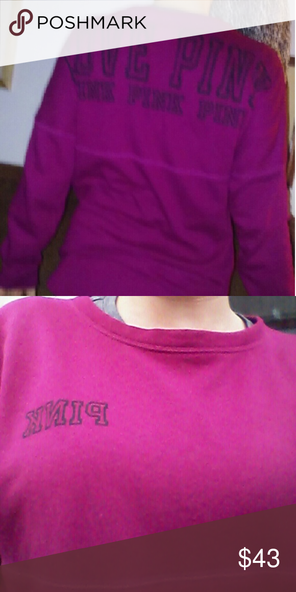 PINK sweatshirt crew Size small  Pink by victorias secret Maroon long sleeve No flaws Ships quick smoke free home PINK Victoria's Secret Tops Sweatshirts & Hoodies