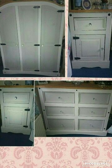Mexican pine furniture lovely and lightly distressed. Rustoleum winter grey and chalk white xxx